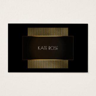 Cartão De Visitas Cabeleireiro preto mínimo do quadro do ouro branco