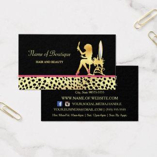 Cartão De Visitas Cabelo do impressão da chita do ouro e boutique
