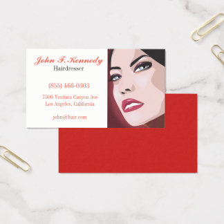 Cartão De Visitas Caixa gráfica vermelha do negócio do cabeleireiro