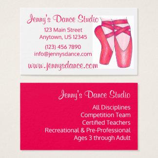 Cartão De Visitas Calçados de dedo do pé de Pointe do balé do rosa
