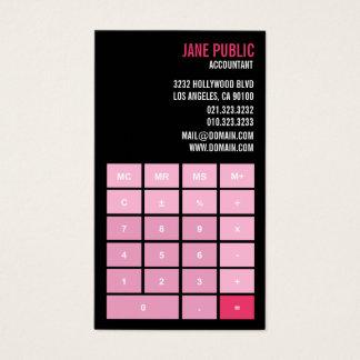 Cartão De Visitas Calculadora cor-de-rosa do contador