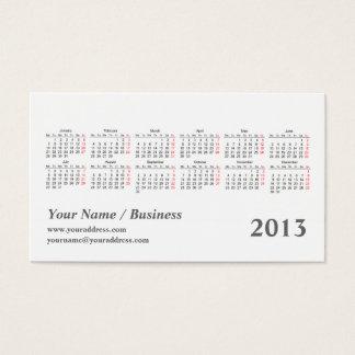 Cartão De Visitas calendário do bolso do caleidoscópio 2013