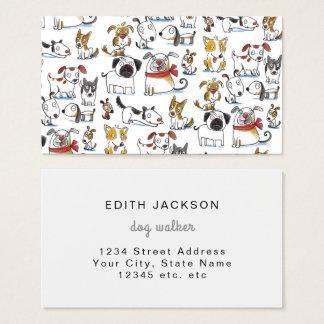 Cartão De Visitas caminhante bonito do cão do doodle