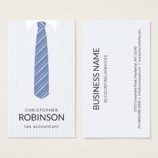 Cartão De Visitas Camisa branca e contador azul do laço da cor do