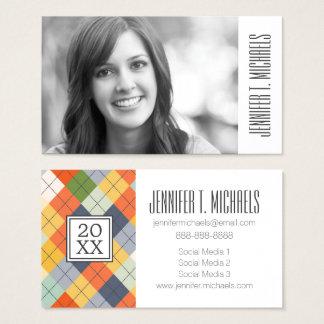 Cartão De Visitas Camisola da graduação   Argyle da foto