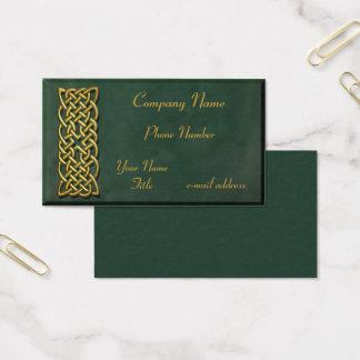Cartão De Visitas Camurça verde escuro do nó celta do ouro