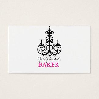 Cartão De Visitas candelabro minniemay+ corações preto e rosa do