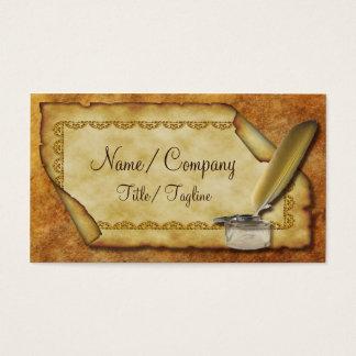 Cartão De Visitas Caneta e pergaminho de Quill