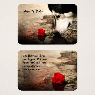 Cartão De Visitas Cão com rosa vermelha