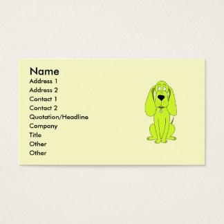 Cartão De Visitas Cão do verde limão. Desenhos animados bonitos do
