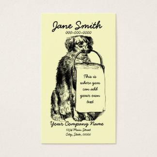 Cartão De Visitas Cão do vintage com cesta