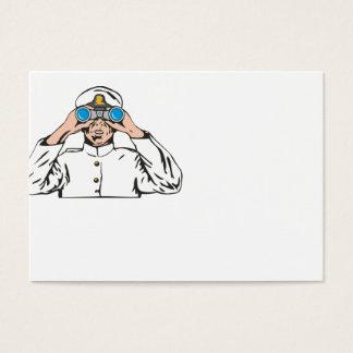 Cartão De Visitas Capitão de marinho marinheiro com binóculos