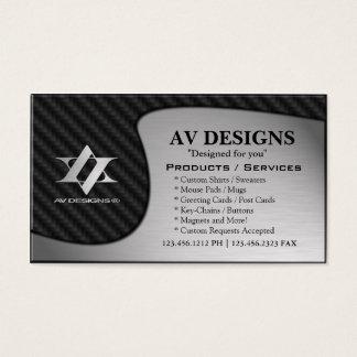 Cartão De Visitas Carbono abstrato de Yin Yang/alumínio escovado