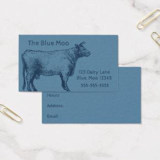 Cartão De Visitas Carne de vacas retro de Bull azul de gado de