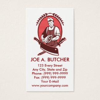 Cartão De Visitas Carniceiro com faca e sharpener da carne