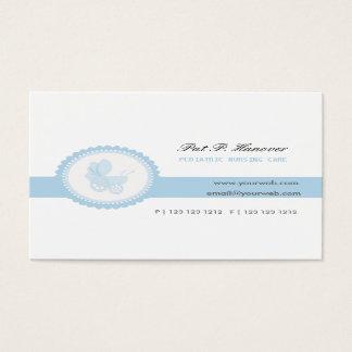 Cartão De Visitas Carruagem azul do carrinho de criança de bebê do