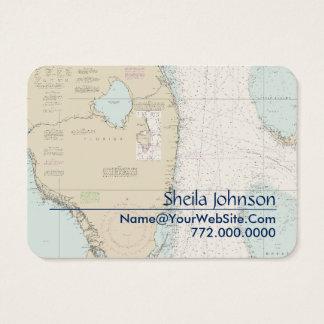 Cartão De Visitas Carta náutica sul Tan azul fresco limpo de Florida