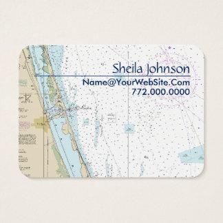 Cartão De Visitas Carta náutica Tan azul fresco limpo de Fort Pierce