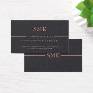 Cartão De Visitas Carvão vegetal elegante & monograma cor-de-rosa do