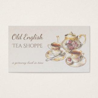 Cartão De Visitas Casa de chá elegante da antiguidade do vintage do