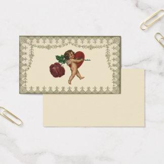 Cartão De Visitas Casamento vintage, Cupido com rosa vermelha e