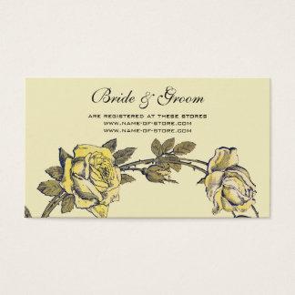 Cartão De Visitas Casamento vintage, grinalda antiga amarela do rosa