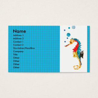 Cartão De Visitas Cavalo de mar animal da aguarela do teste padrão