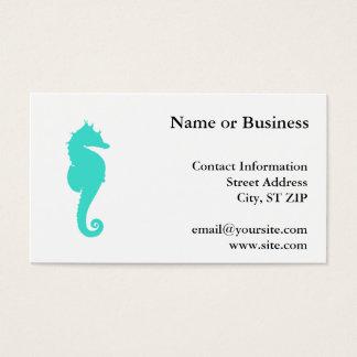 Cartão De Visitas Cavalo de mar de turquesa no branco
