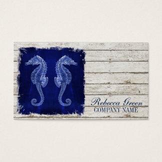 Cartão De Visitas cavalo marinho azul náutico de madeira da tração