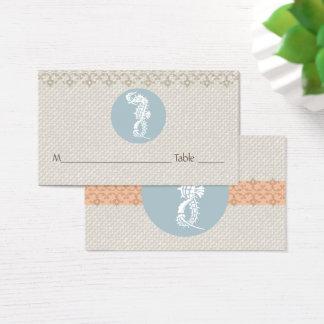 Cartão De Visitas Cavalo marinho do casamento de praia de Placecards
