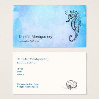 Cartão De Visitas Cavalo marinho e Seashell na aguarela azul náutica