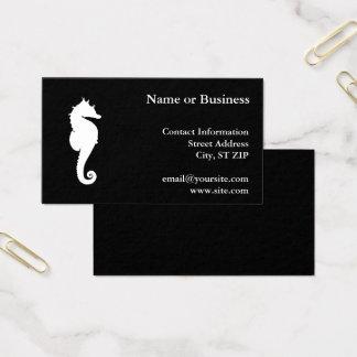 Cartão De Visitas Cavalo marinho preto e branco