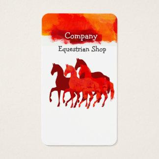 Cartão De Visitas Cavalos que funcionam a cor artística da aguarela