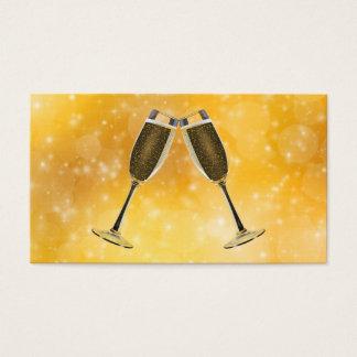 Cartão De Visitas Celebração dos vidros de Champagne no ouro