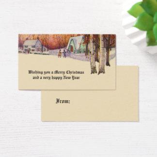 Cartão De Visitas Cenário do inverno do Natal do Victorian do