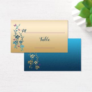 Cartão De Visitas Cerceta, ouro, florais roxo, borboletas Placecards