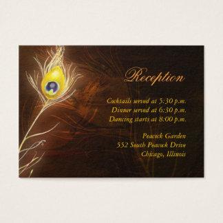 Cartão De Visitas Cerco chamativo da recepção da pena do pavão