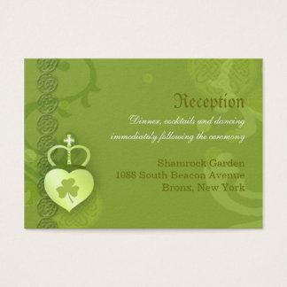 Cartão De Visitas Cerco irlandês da recepção de casamento