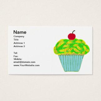 Cartão De Visitas Cereja no cupcake amarelo e verde superior da