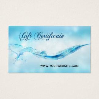 Cartão De Visitas Certificado de presente dos termas do respingo da