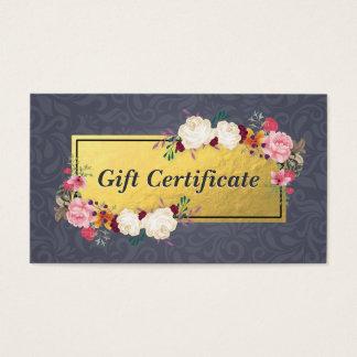 Cartão De Visitas Certificado de presente floral do boutique do
