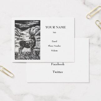 Cartão De Visitas Cervos escoceses no Monochrome Linocut do vale das