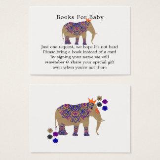 Cartão De Visitas Chá de fraldas bonito do elefante da cor rústica