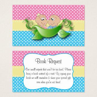 Cartão De Visitas Chá de fraldas gêmeo - duas ervilhas em um pedido