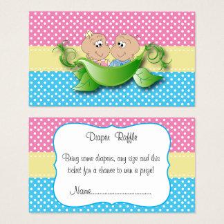Cartão De Visitas Chá de fraldas gêmeo - duas ervilhas em um Raffle