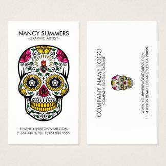 Cartão De Visitas Chama interna do crânio colorido do açúcar