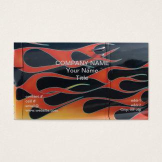 Cartão De Visitas chamas alaranjadas do hotrod no preto