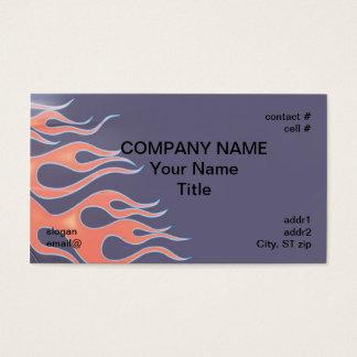 Cartão De Visitas chamas alaranjadas na pintura roxa