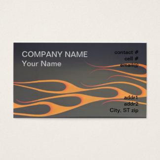 Cartão De Visitas chamas alaranjadas no preto