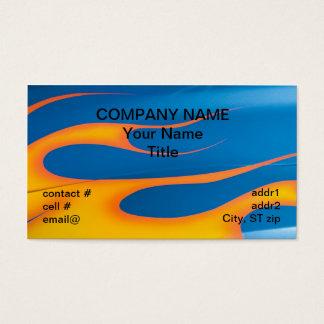 Cartão De Visitas chamas amarelas do hotrod no azul